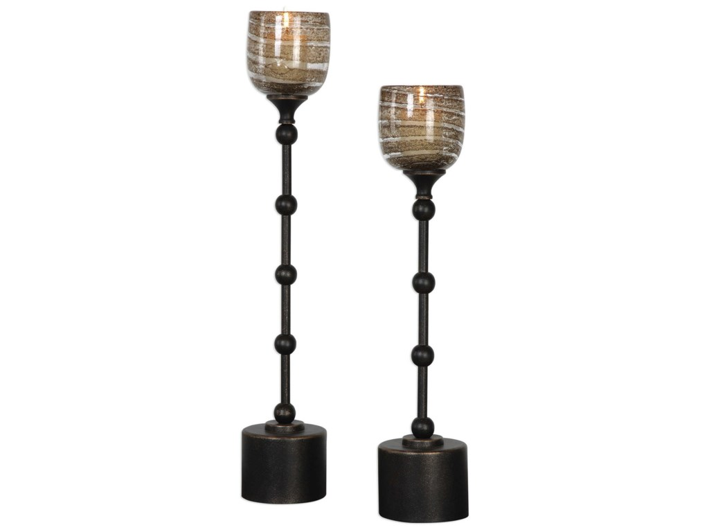 Uttermost Accessories - Candle HoldersLula Oil Rubbed Bronze Candleholders Set of