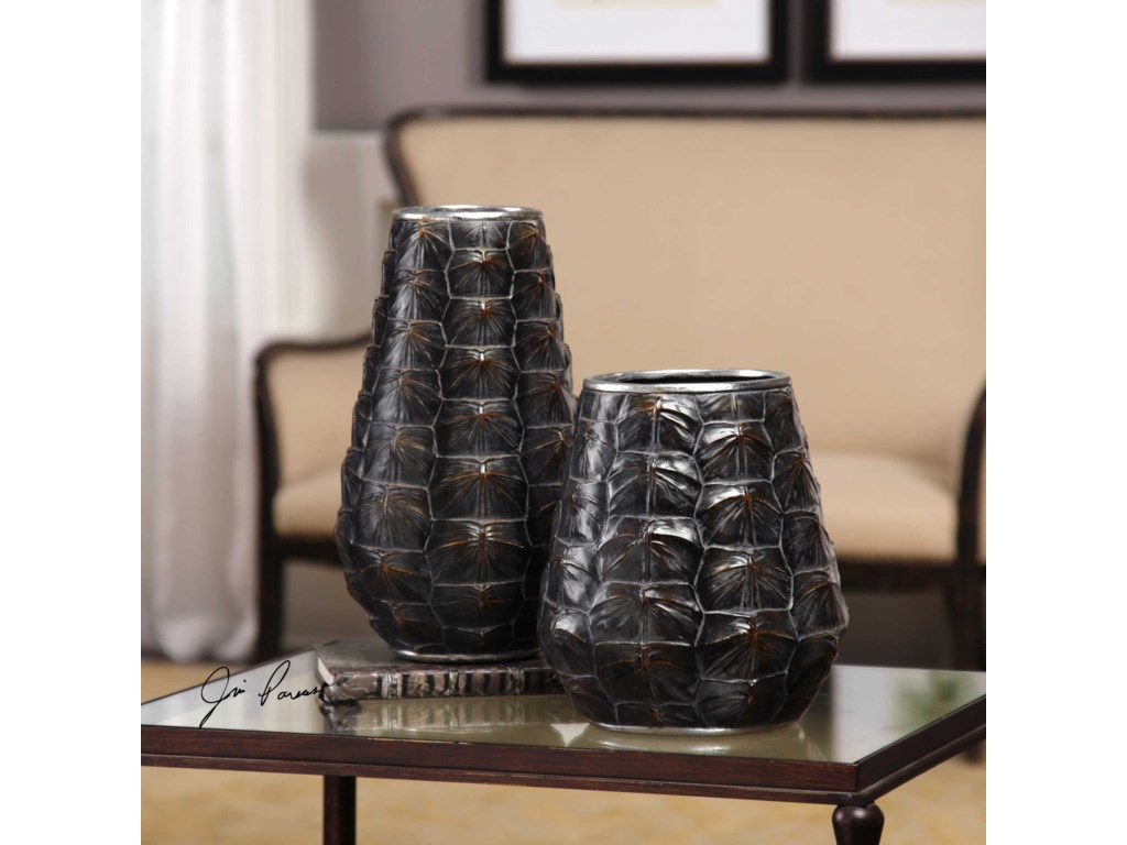 Uttermost Accessories - Vases and UrnsKapil Tortoise Shell Vases Set of 2