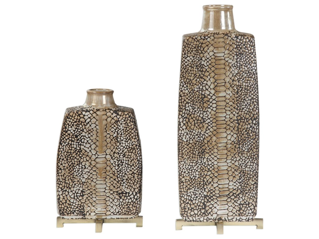 Uttermost Accessories - Vases and UrnsReptila Textured Ceramic Vases Set of 2