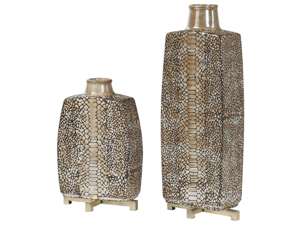 Uttermost AccessoriesReptila Textured Ceramic Vases Set of 2