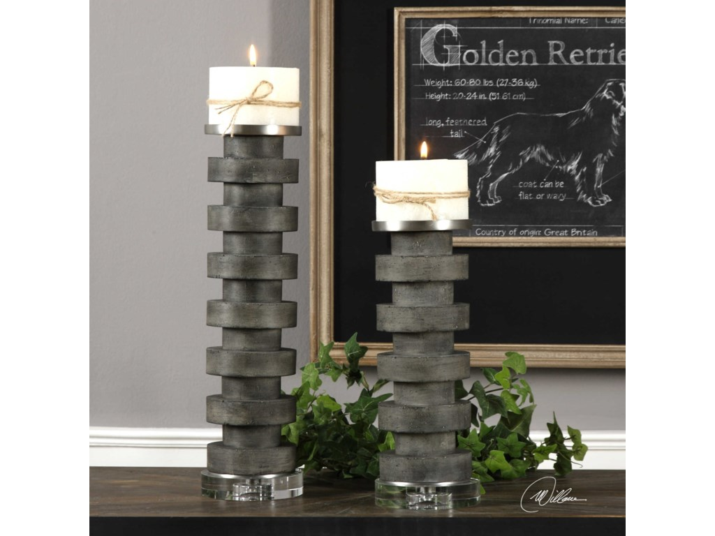 Uttermost AccessoriesKarun Concrete Candleholders Set of 2