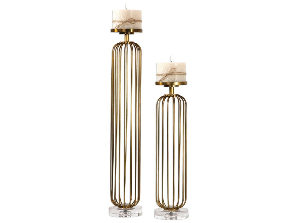 Uttermost Accessories - Candle HoldersCesinali Antique Gold Candleholders Set of 2