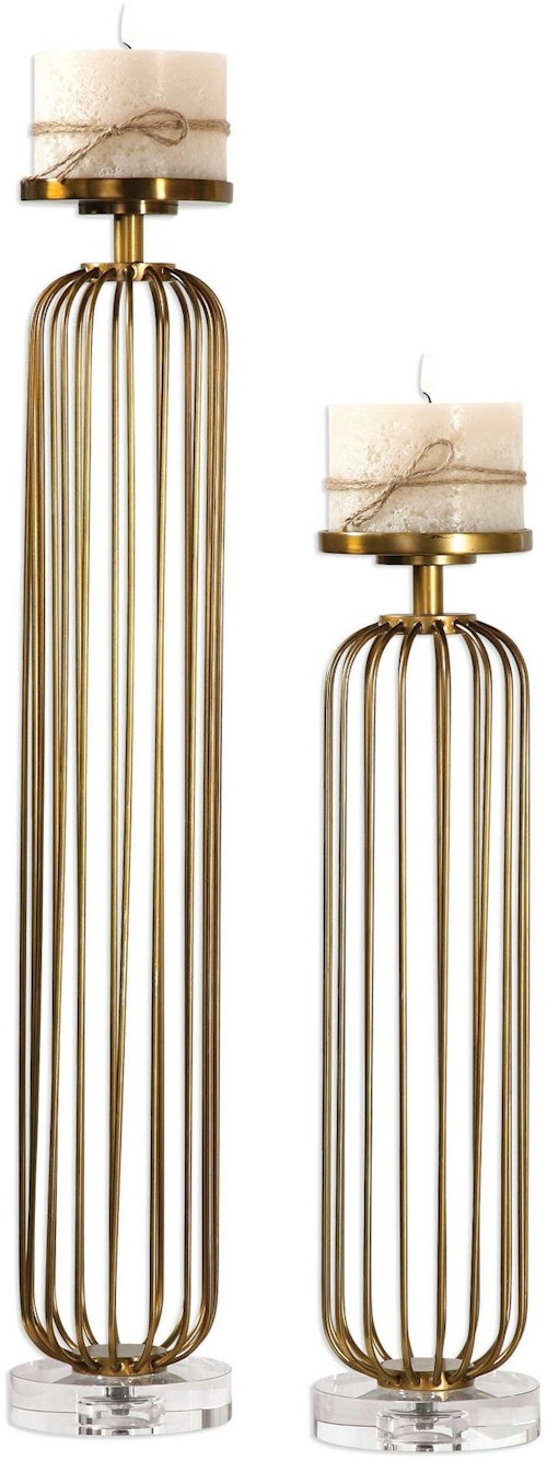 Uttermost Accessories Cesinali Antique Gold Candleholders Set of 2