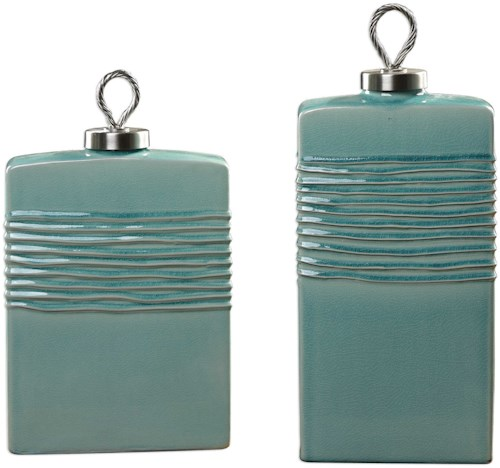 Uttermost Accessories Rewa Green Ceramic Containers Set of 2