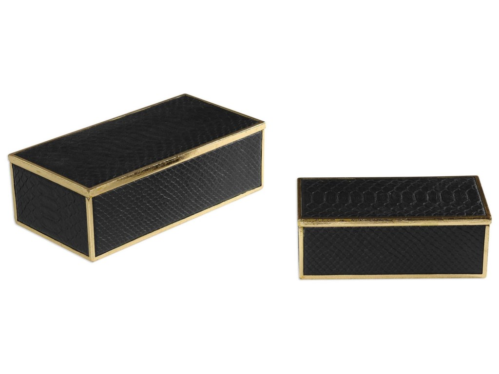 Uttermost AccessoriesUkti Alligator Patterned Boxes Set of 2