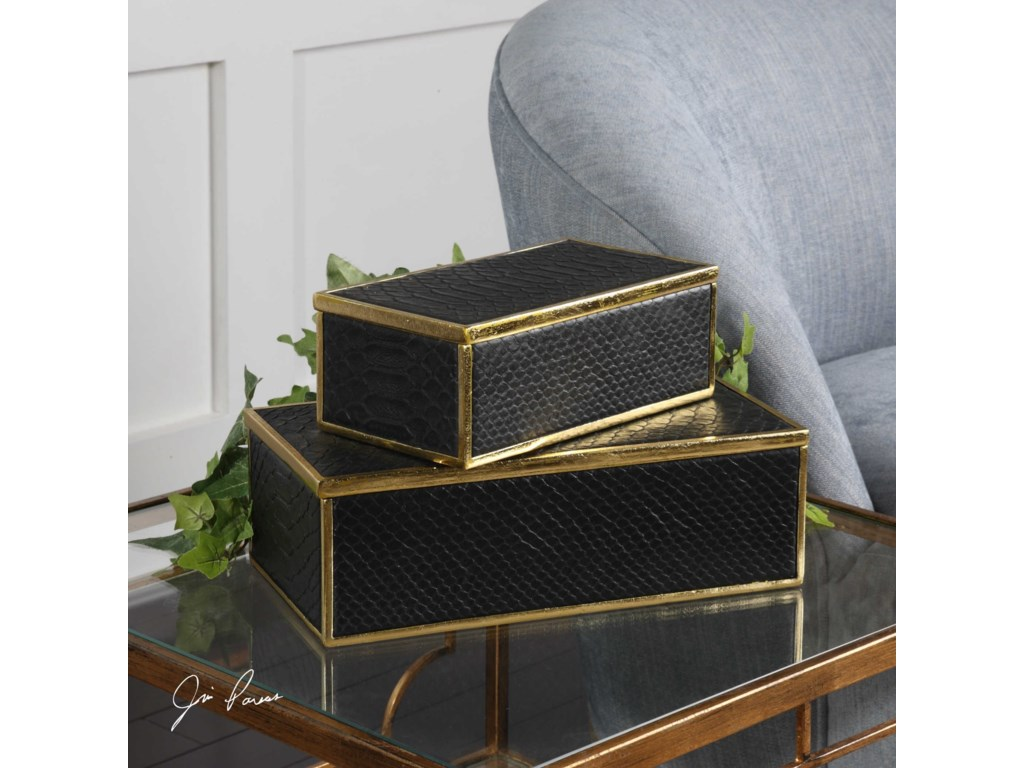 Uttermost Accessories - BoxesUkti Alligator Patterned Boxes Set of 2