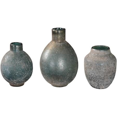 Mercede Weathered Blue-Green Vases Set of 3