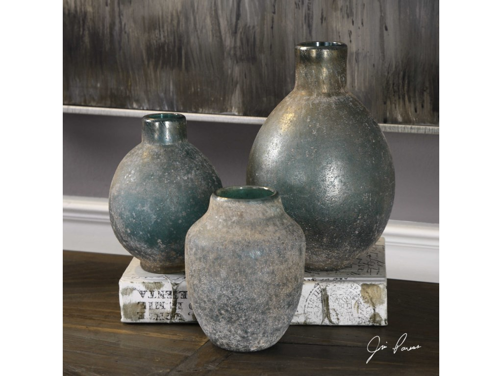 Uttermost AccessoriesMercede Weathered Blue-Green Vases Set of 3