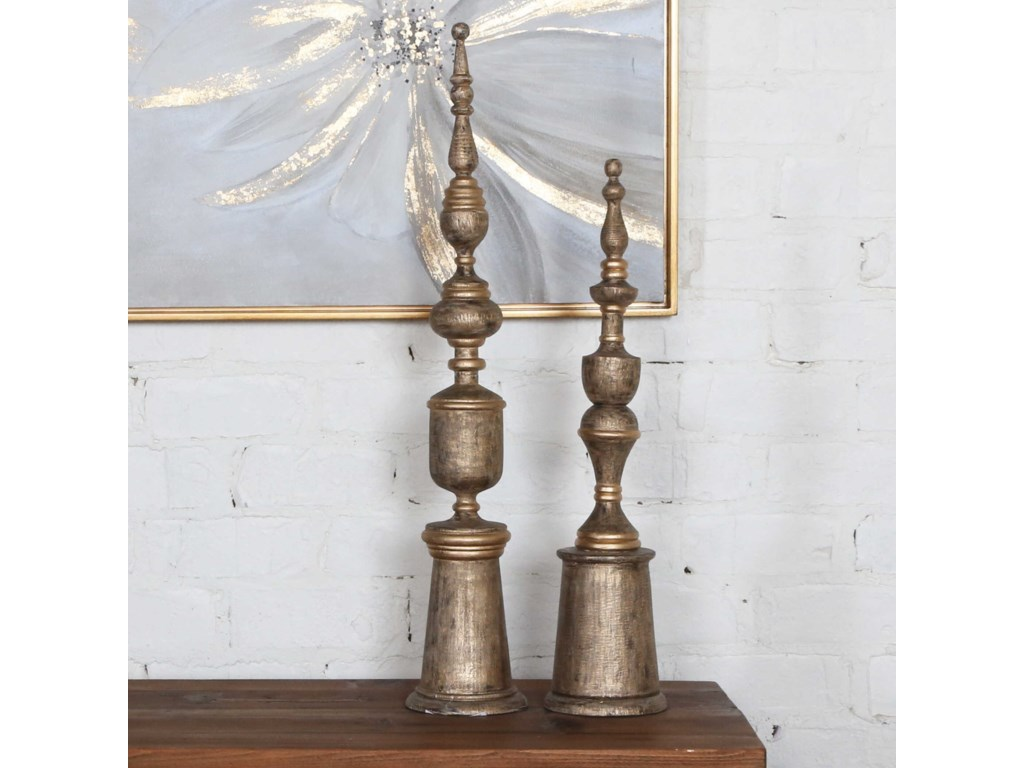 Uttermost Accessories - Statues and FigurinesNalini Antique Gold Finials Set of 2