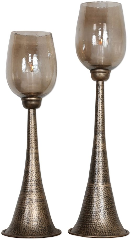 Uttermost Accessories Badal Antiqued Gold Candleholders Set of 2