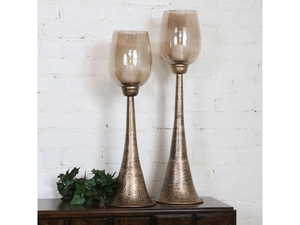 Uttermost Accessories - Candle HoldersBadal Antiqued Gold Candleholders Set of 2