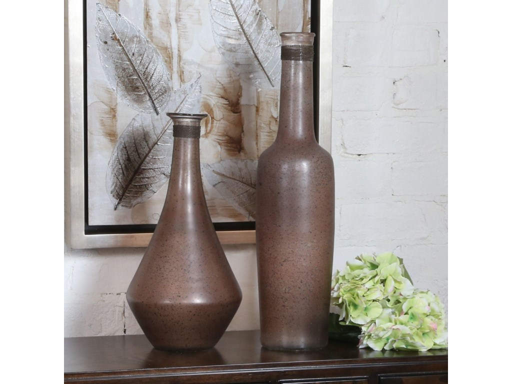 Uttermost AccessoriesChandi Smoke Glass & Rust Wash Vases Set of