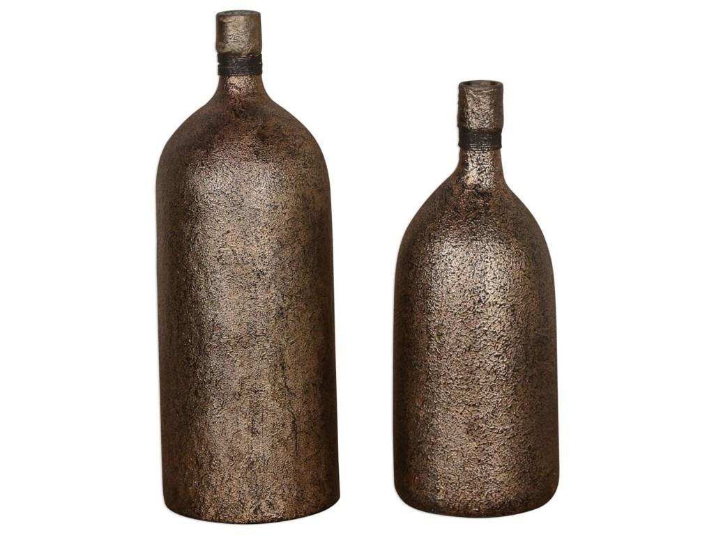 Uttermost Accessories - Vases and UrnsBiren Textured Antiqued Gold Vases Set of 2