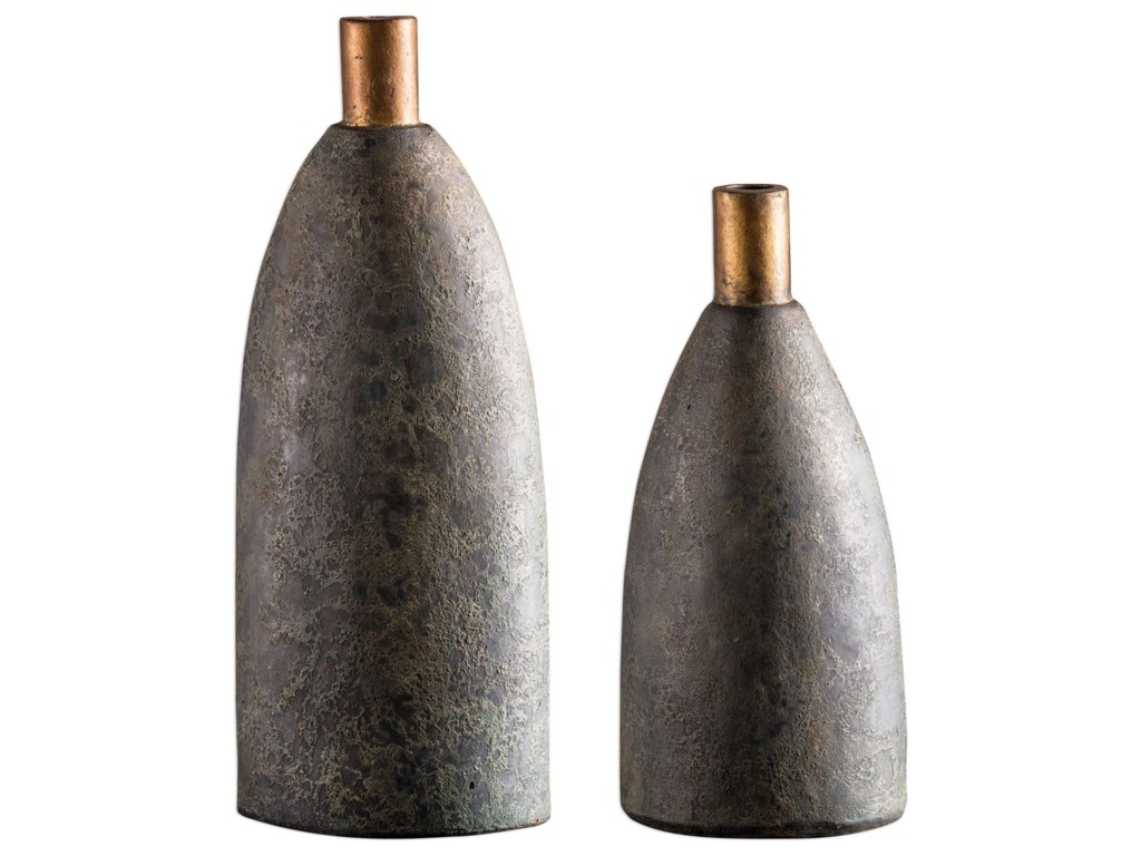 Uttermost Accessories - Vases and UrnsKasen Charcoal Vases S/2