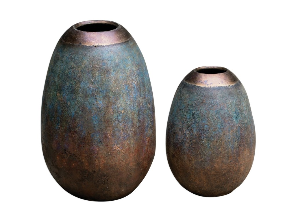 Uttermost Accessories - Vases and UrnsPavak Etruscan Sky Vases S/2