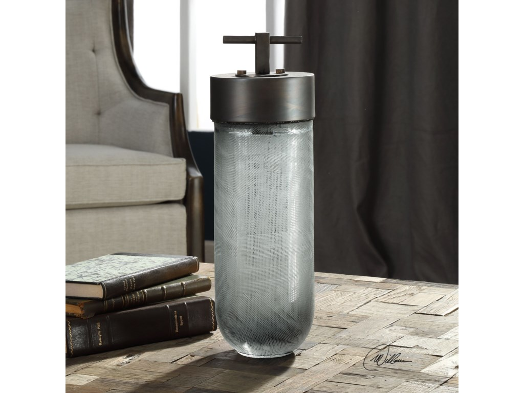 Uttermost AccessoriesVirika Etched Gray Glass Jar