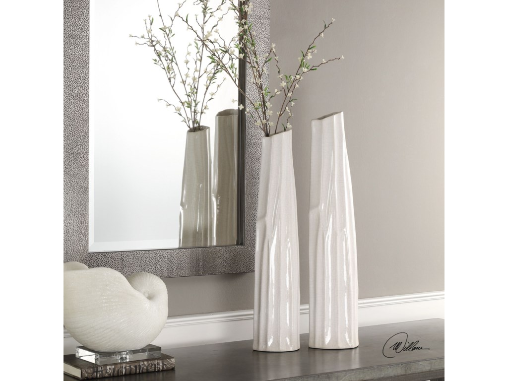 Uttermost AccessoriesKenley Crackled White Vases S/2