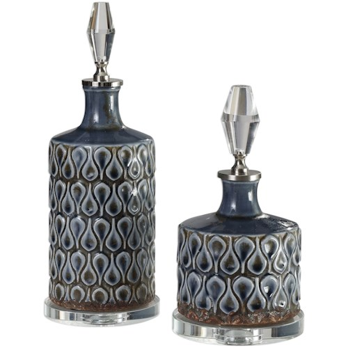 Uttermost Accessories Varuna Cobalt Blue Bottles S/2