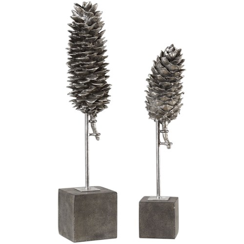 Uttermost Accessories Longleaf Pine Cone Sculptures S/2