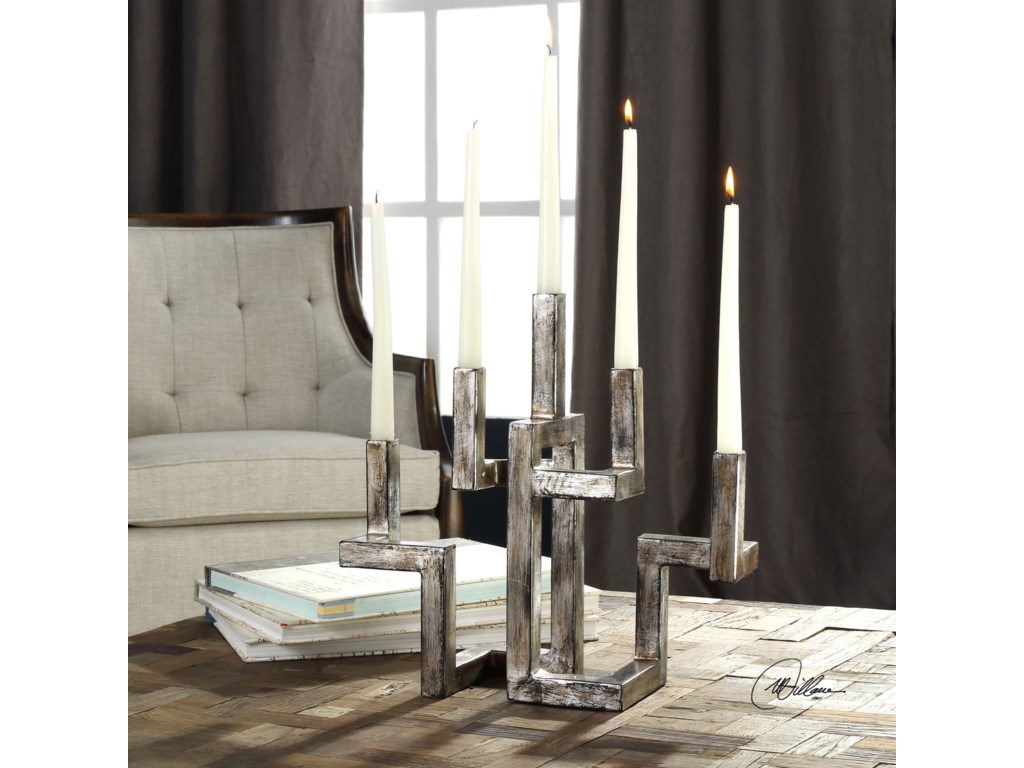 Uttermost Accessories - Candle HoldersRudra Antiqued Silver Candelabra