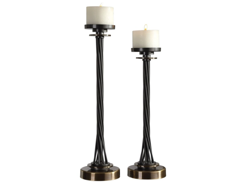 Uttermost Accessories - Candle HoldersKendra Twisted Black Candleholders