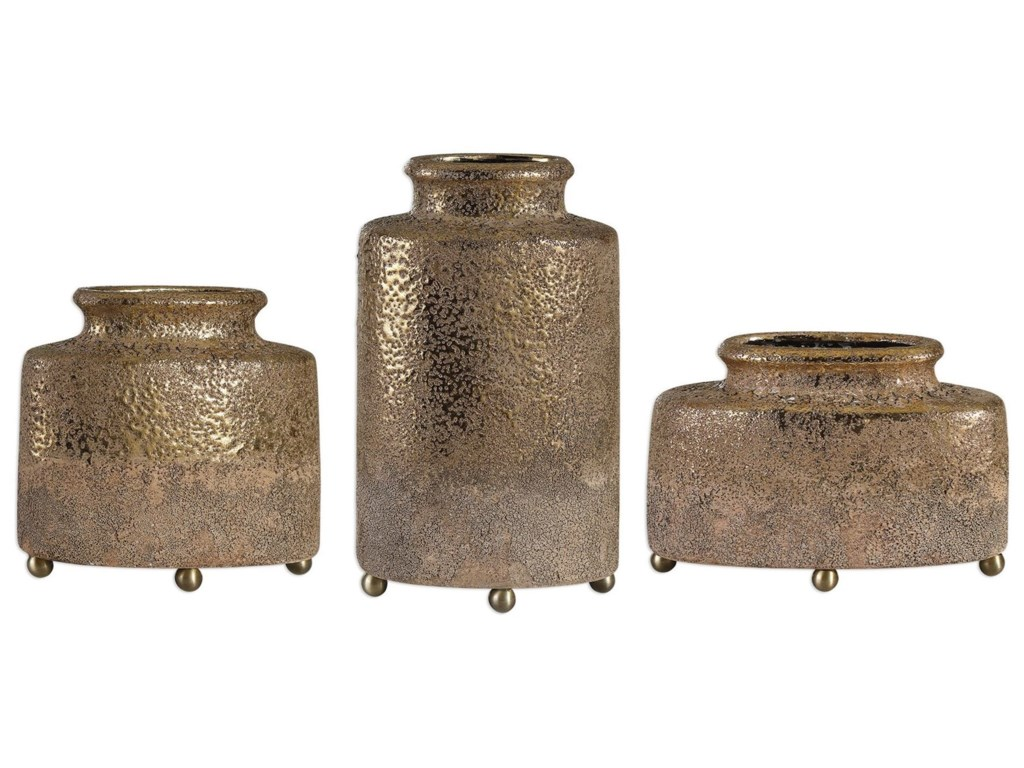 Uttermost Accessories - Vases and UrnsKallie Metallic Golden Vessels S/3