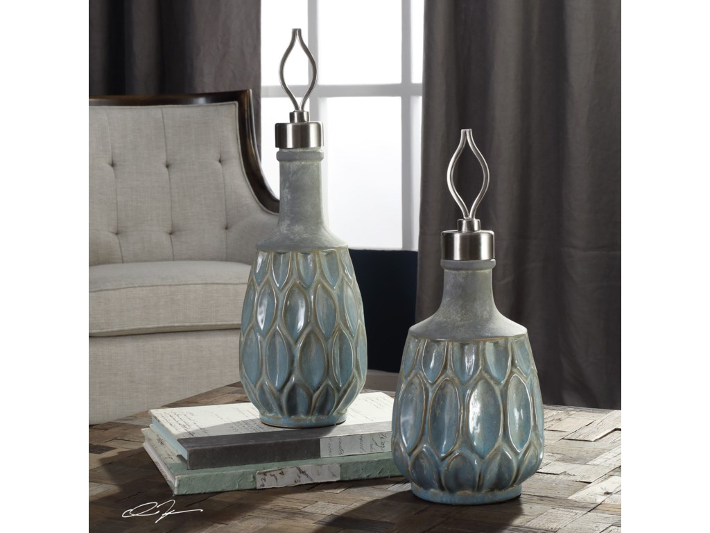 Uttermost AccessoriesArpana Blue And Gray Bottles S/2