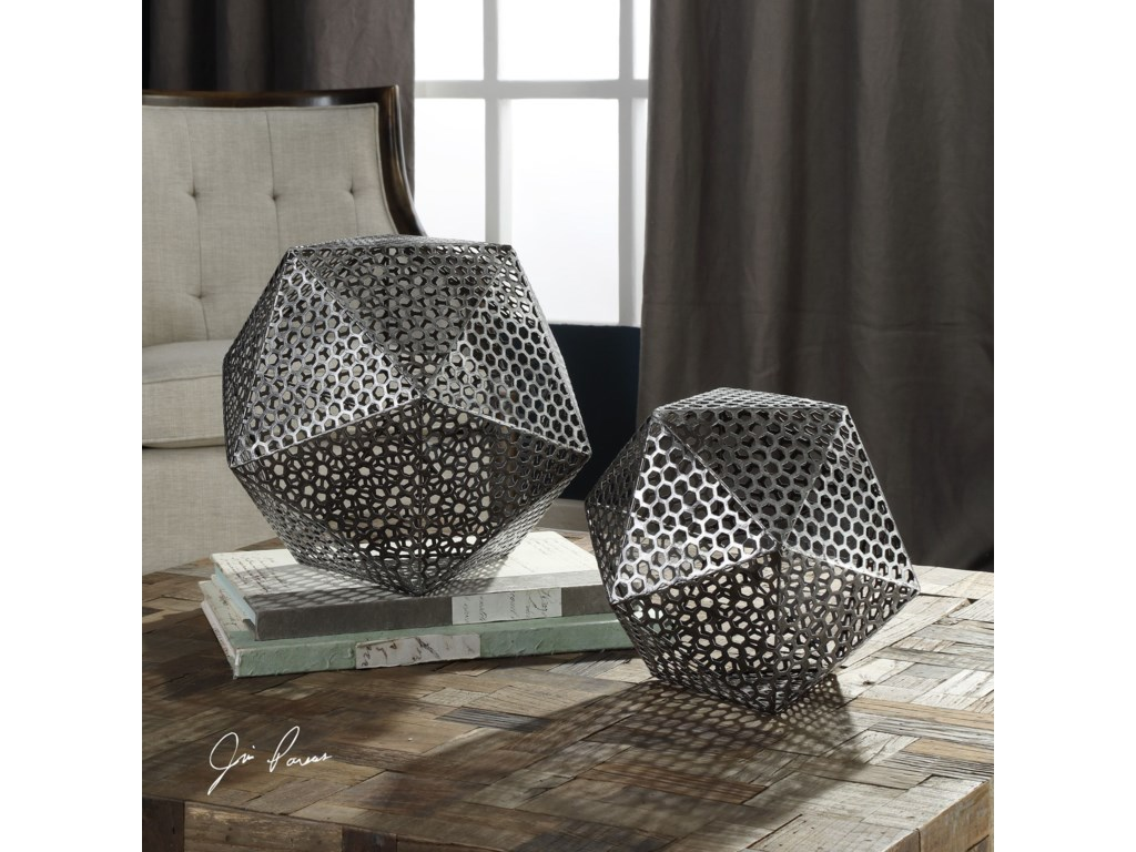 Uttermost Accessories - Statues and FigurinesKimora Aged Icosahedrons S/2