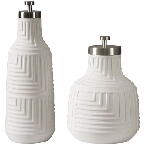 Uttermost Accessories Chandran Matte White Containers S/2