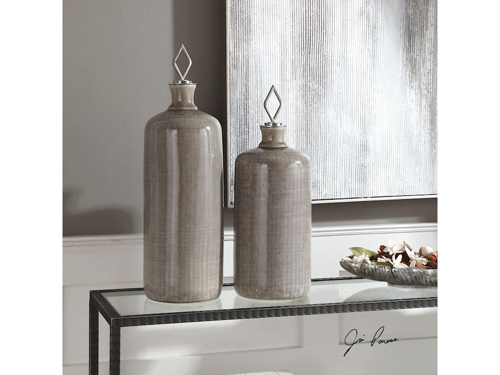 Uttermost AccessoriesDhara Taupe Glaze Bottles, S/2