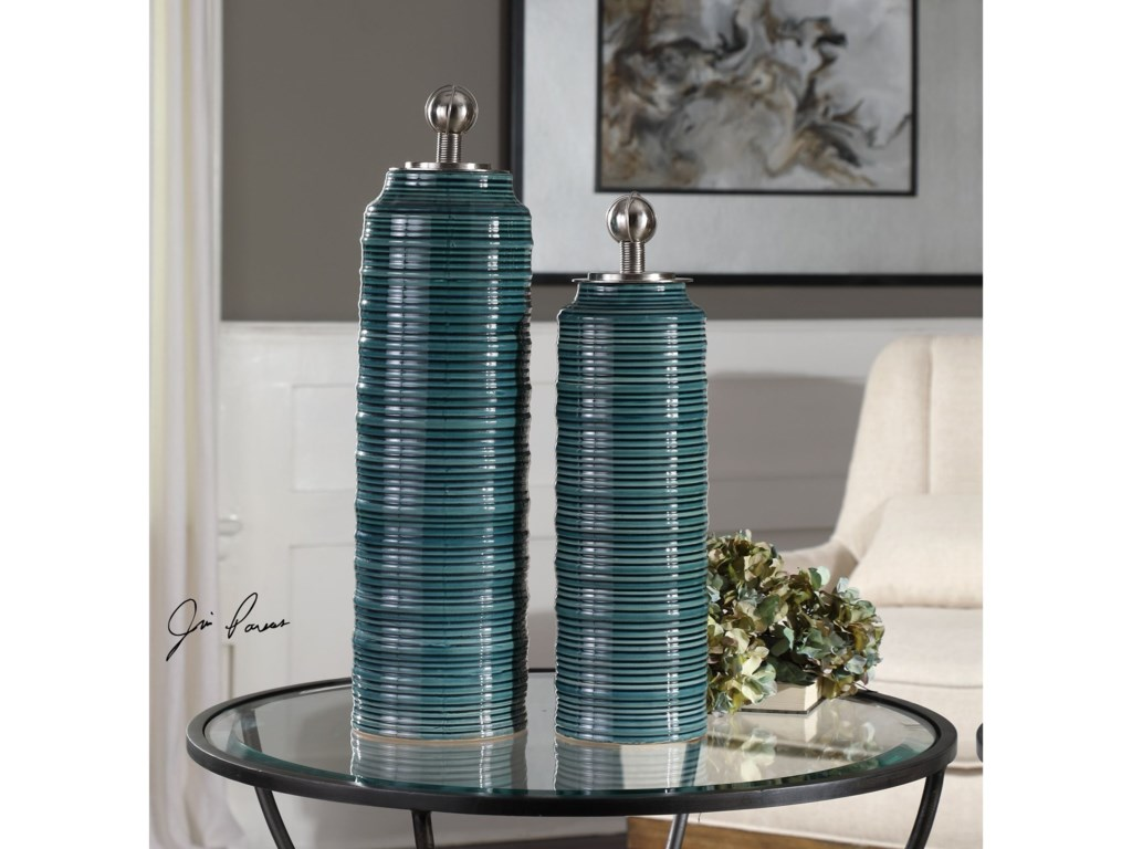 Uttermost AccessoriesDelane Dark Teal Canisters S/2