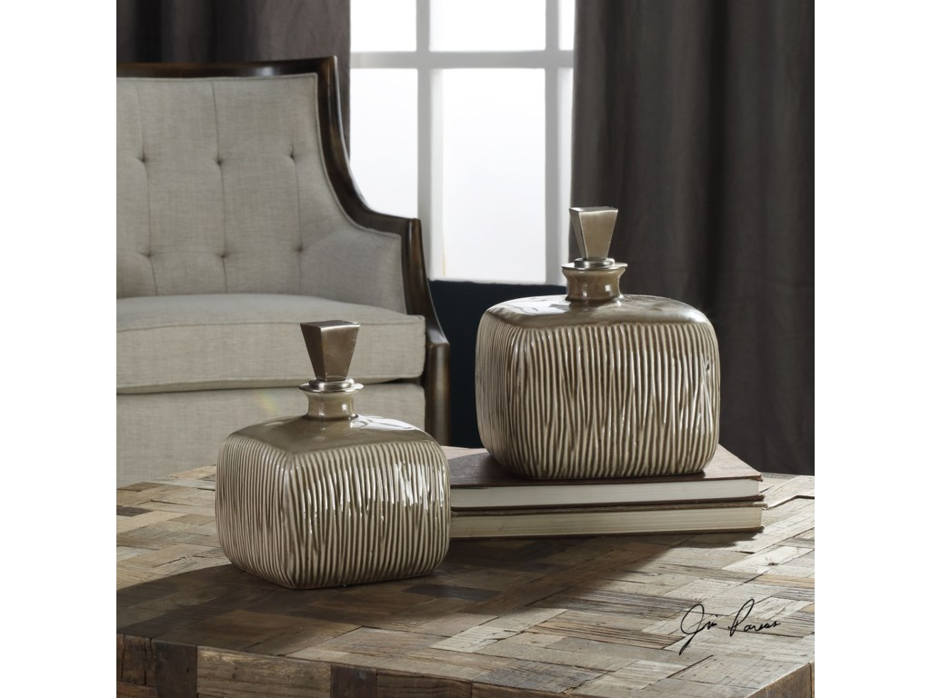 Uttermost AccessoriesCayson Ribbed Ceramic Bottles, S/2