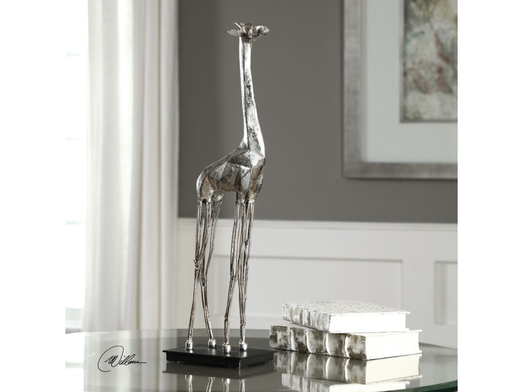 Uttermost Accessories - Statues and FigurinesMireya Silver Giraffe Sculpture