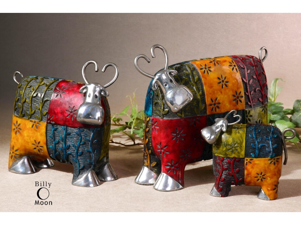 Uttermost Accessories - Statues and FigurinesColorful Cows Accessories Set of 3