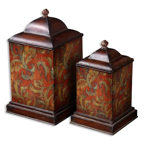 Uttermost Accessories Colorful Flowers Canisters Set of 2