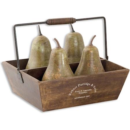 Pears In Basket Set of 5
