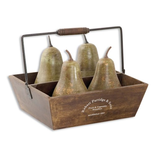 Uttermost Accessories Pears In Basket Set of 5