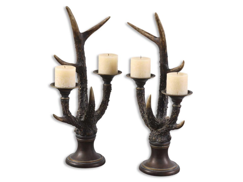 Uttermost Accessories - Candle HoldersStag Horn Candleholder Set of 2