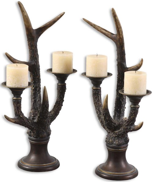 Uttermost Accessories Stag Horn Candleholder Set of 2