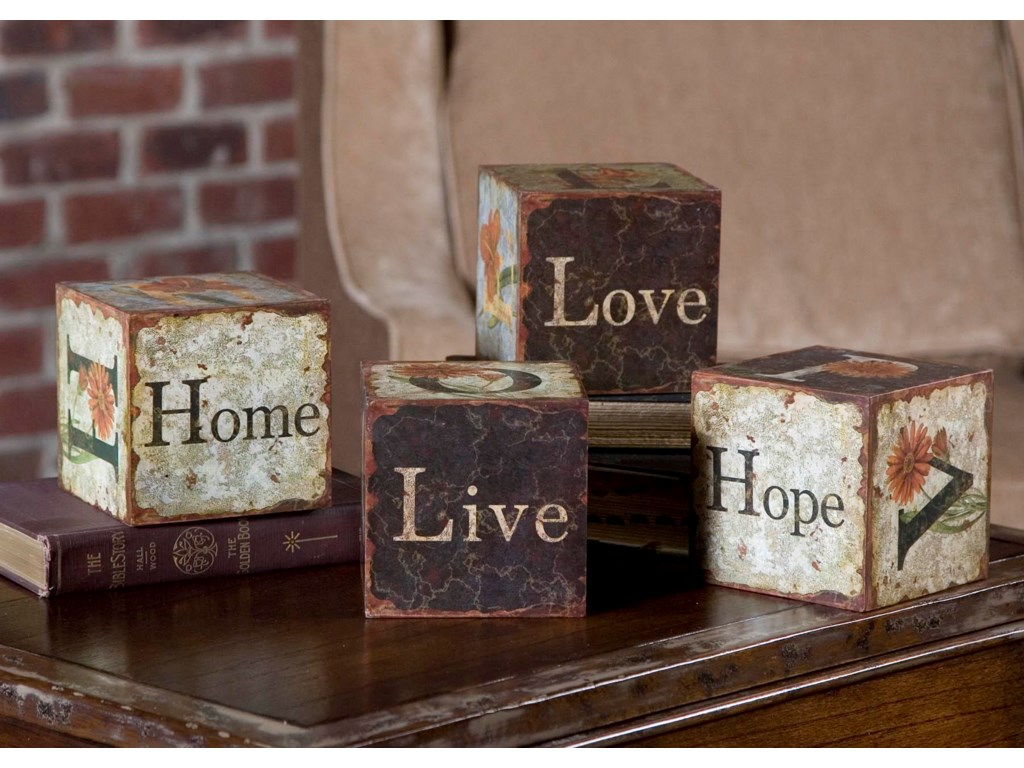 Uttermost Accessories - Statues and FigurinesLove Letters Accessories Set of 4