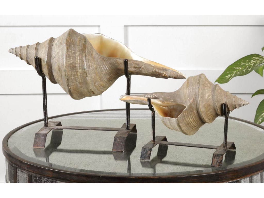 Uttermost Accessories - Statues and FigurinesConch Shell Sculpture Set of 2