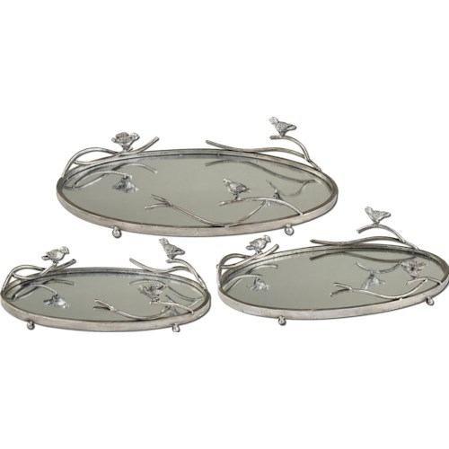 Uttermost Accessories Birds On A Limb Trays Set of 3