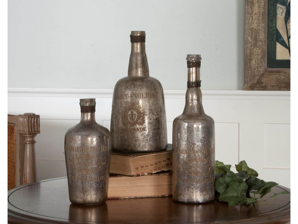 Uttermost AccessoriesLamaison Mercury Glass Bottles