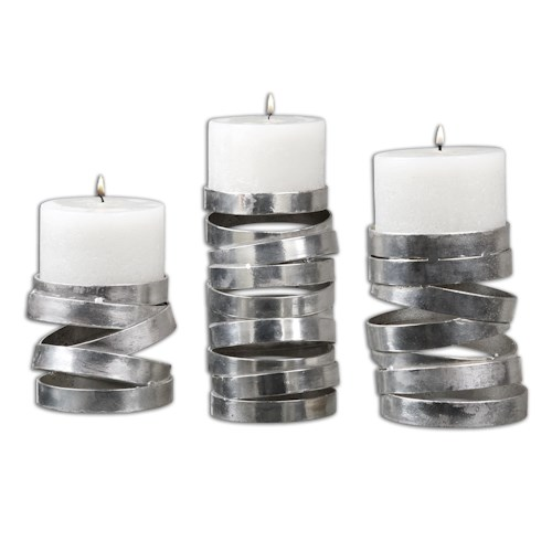Uttermost Accessories Tamaki Silver Candleholders, Set of 3