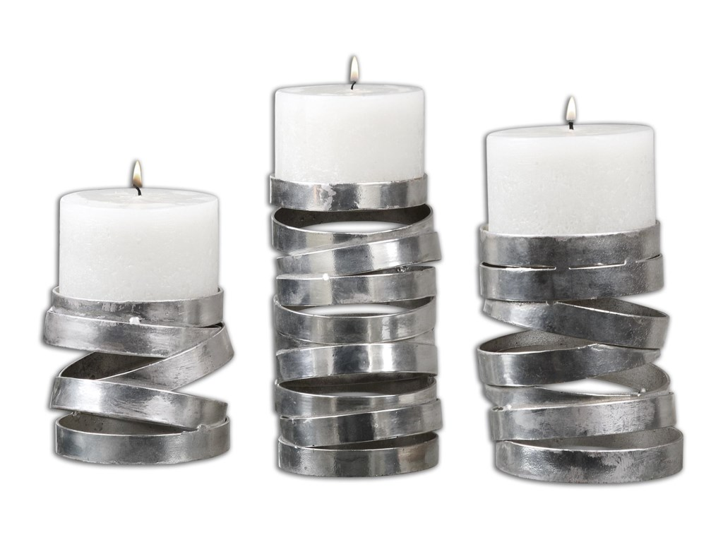 Uttermost AccessoriesTamaki Silver Candleholders, Set of 3
