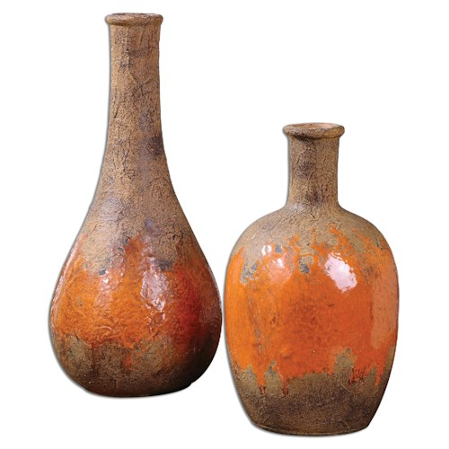 Uttermost Accessories Kadam Ceramic Vases, Set of  2