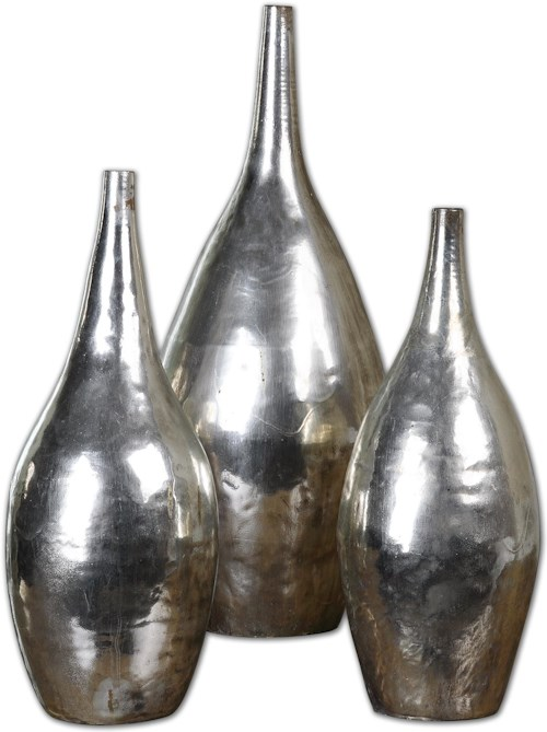 Uttermost Accessories Rajata Silver Vases Set of 3