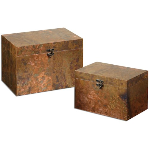 Uttermost Accessories Ambrosia Copper Boxes, Set of  2