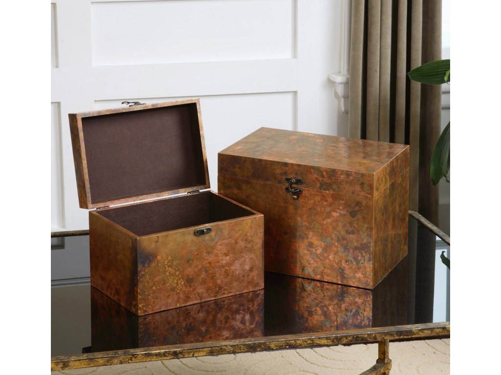 Uttermost Accessories - BoxesAmbrosia Copper Boxes, Set of  2