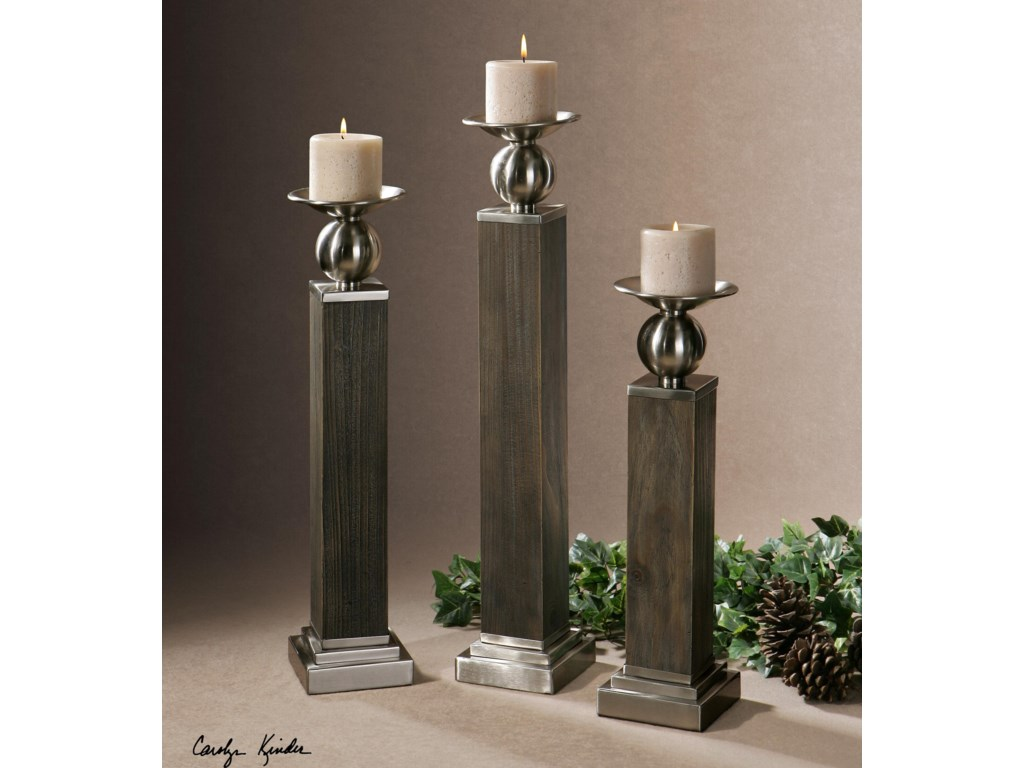 Uttermost AccessoriesHestia Wood Candleholders, Set of  3